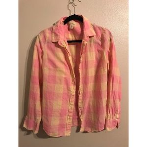 J Crew Gingham Button Down Top Pink/Yellow 12